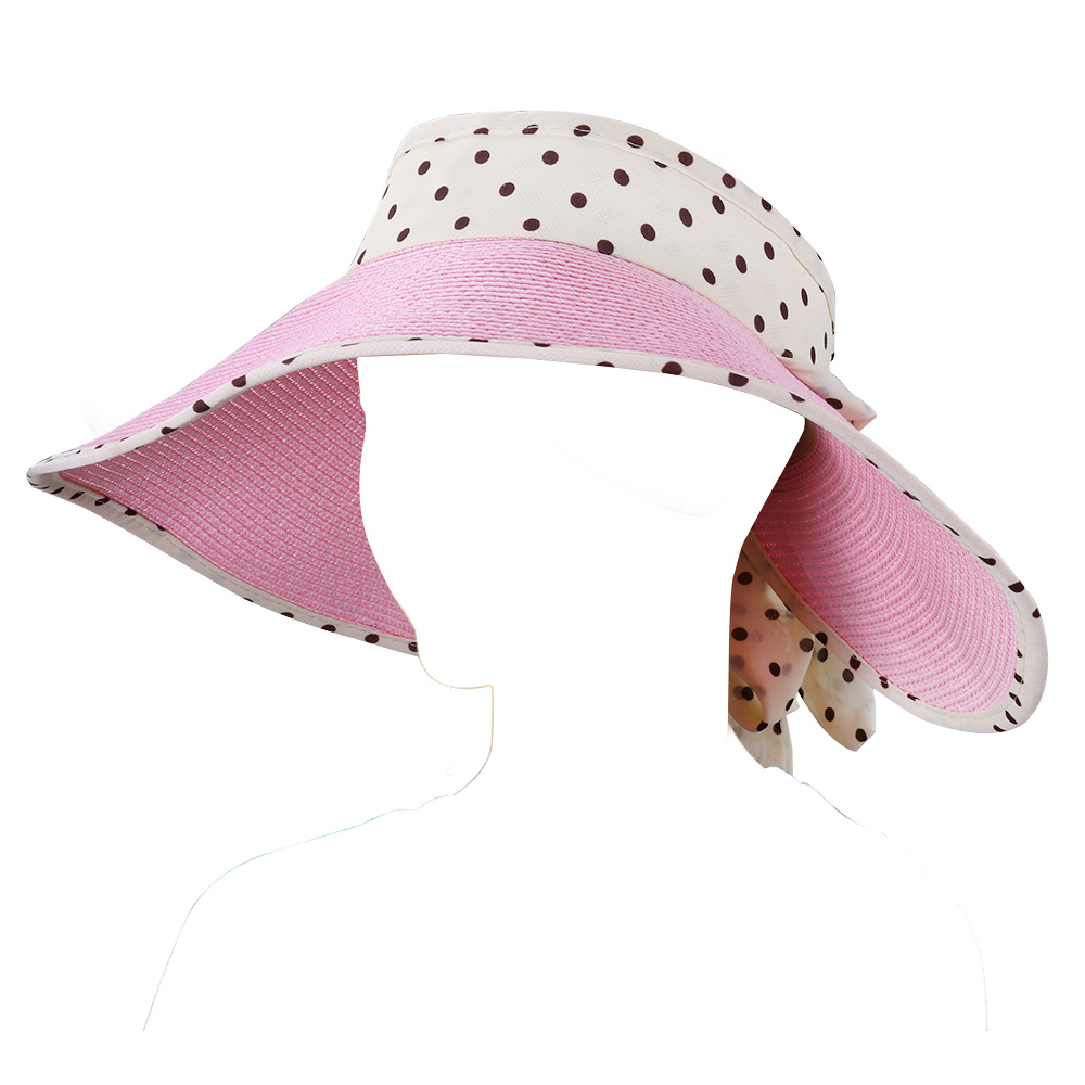e2eaa74b1 Polka Dot Women Roll Up Wide Brim Floppy Sun Visor Hat Open Top ...