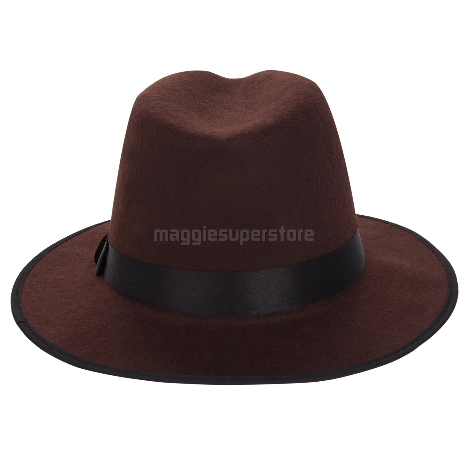 d45b9cbca45 Details about Brown Women Men Vintage Wide Brim Wool Felt Fedora Trilby Hat  Floppy Bowler Cap