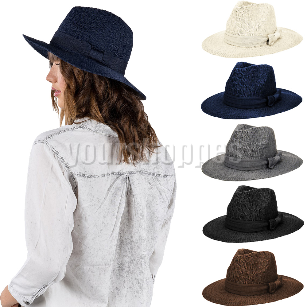 b7995145abd Details about Women s Floppy Wide Brim Fedora Trilby Cap Summer Beach Sun Straw  Hat With Bow