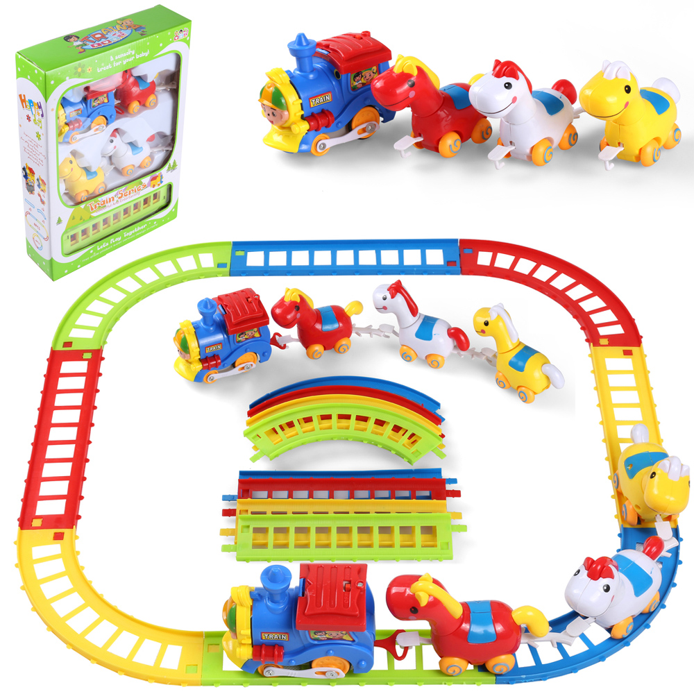 12Pcs Cute Horse Animal Musical Train /& Track Playset Kid Children Toy Xmas Gift