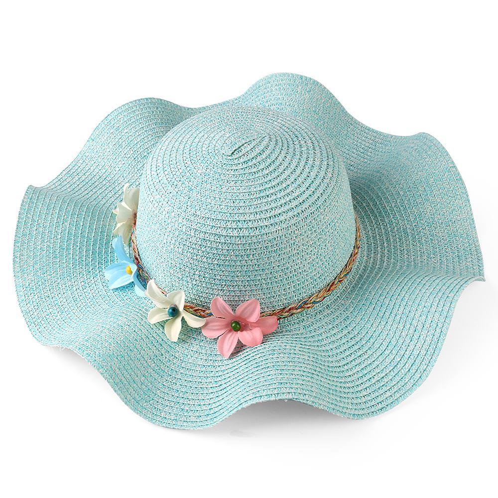 Fashion Women Summer Beach Sun Straw Hat Wavy Wide Brim Floppy Flower Band Cap