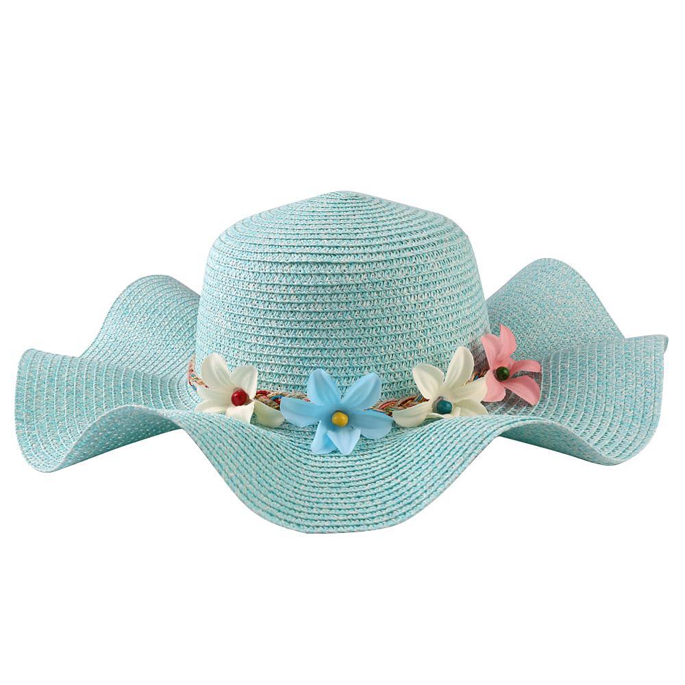 Blue Straw Floral Hat Fashion Women Summer Sun Beach Sofia Wavy Brim Floppy Cap