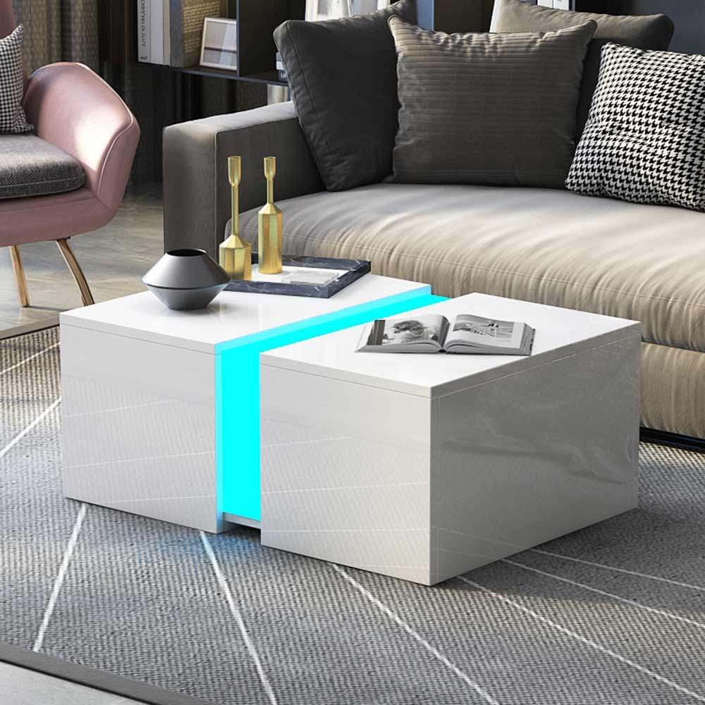 Details About Modern High Gloss White Coffee Side Table Living Room Furniture Rgb Led Light