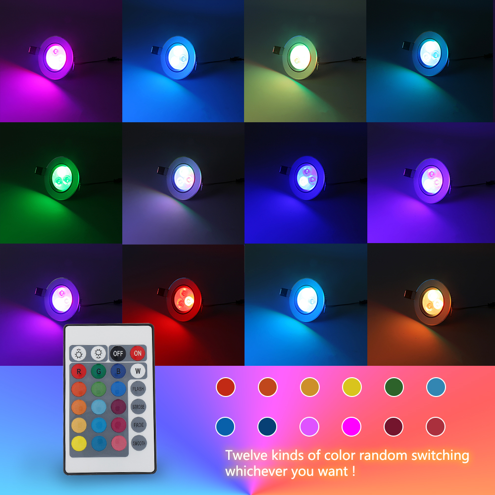 4pcs 5w Rgb Color Changing Led Recessed Ceiling Lamp Down Light Remote Control