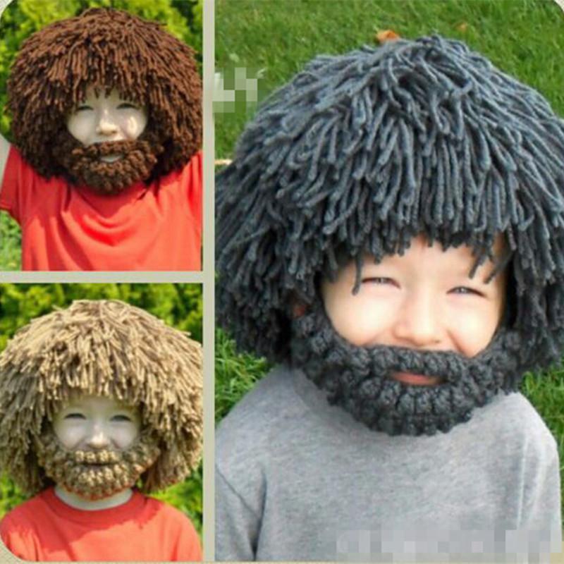 3f96f4dfcbc Winter Warm Beard Hat Barbarian Crochet Beanie Cap Cospaly For Kid Children  Boy