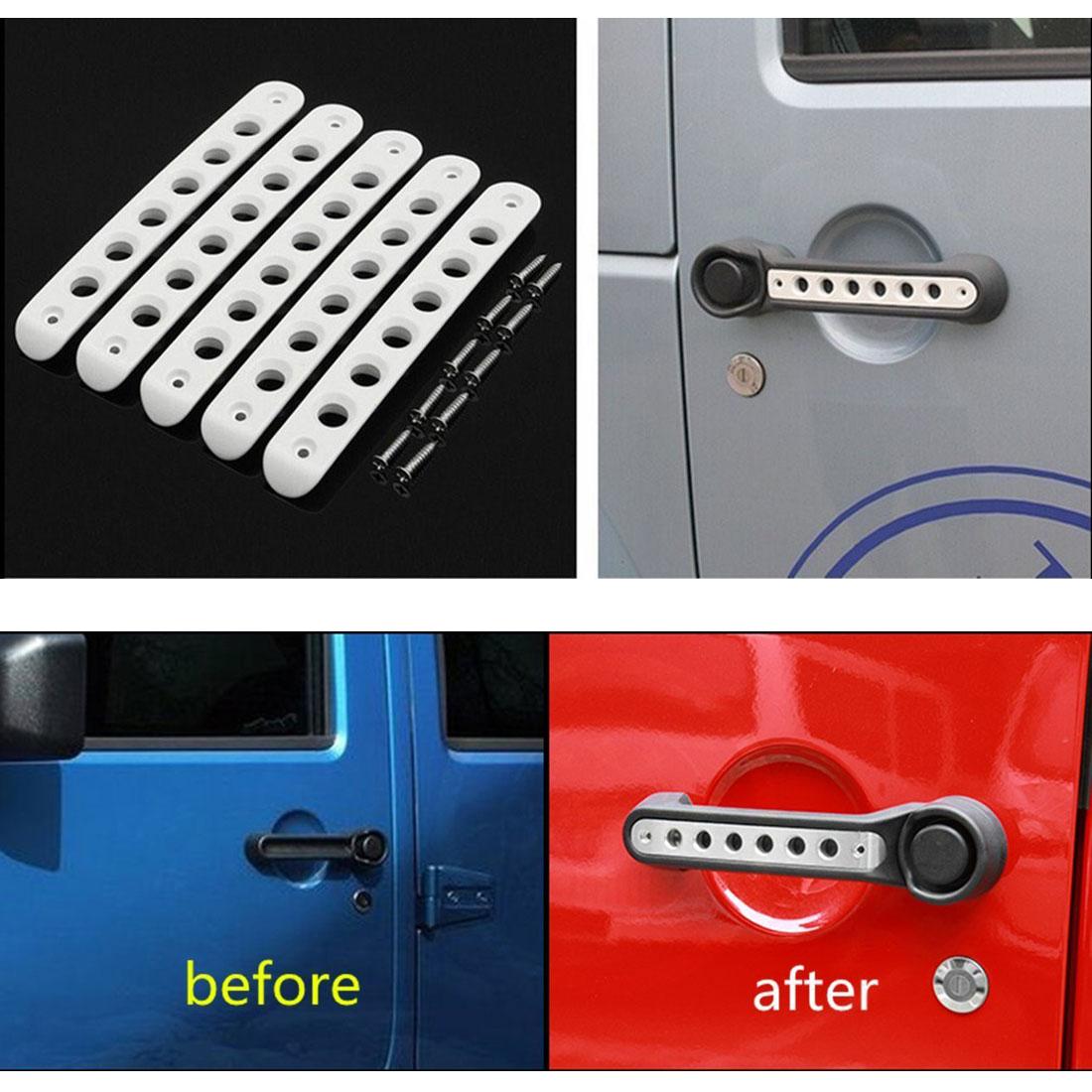 Door Grab Handle Insert Cover For 2007-2018 Jeep Wrangler JK Unlimited 4 Door #B