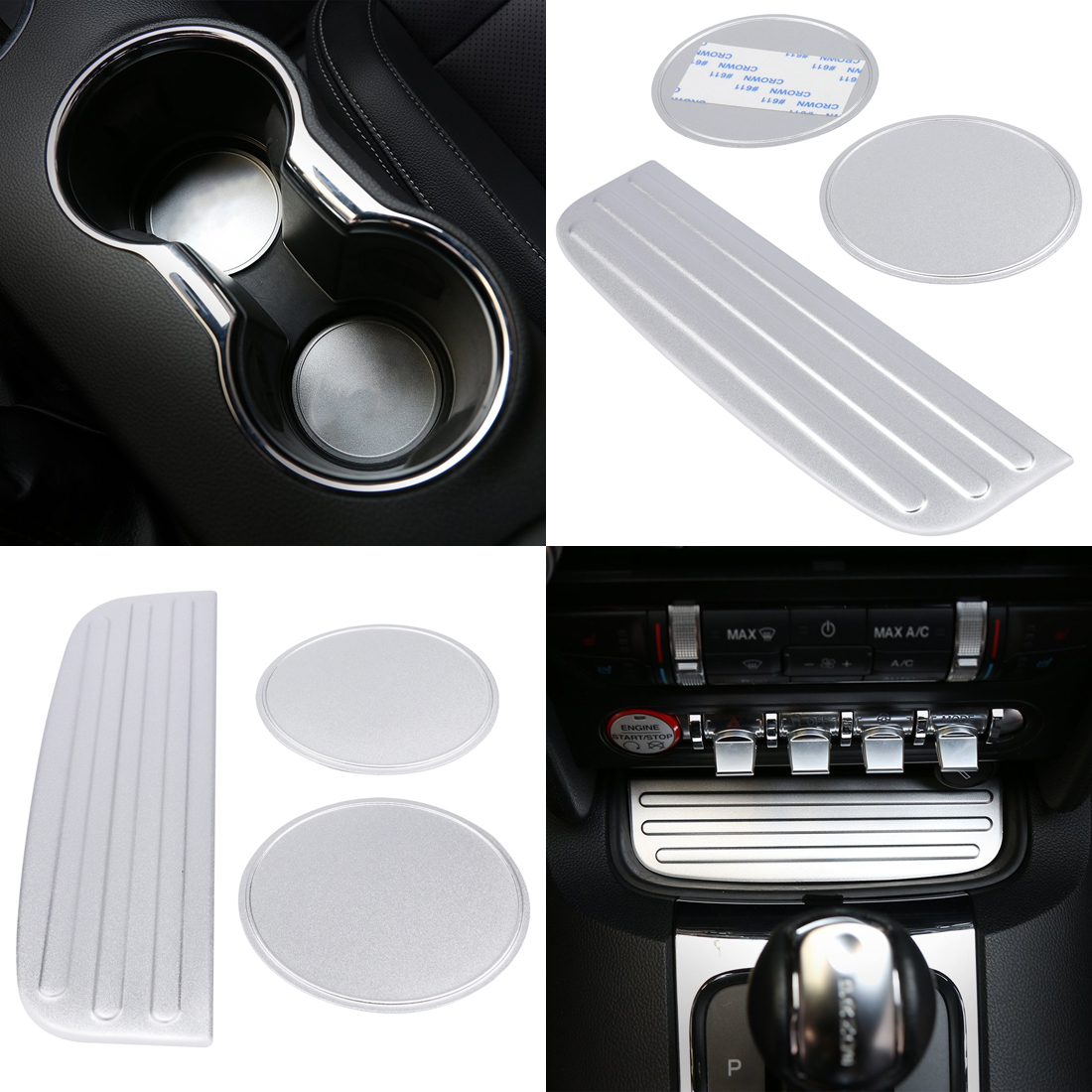 Silver Aluminum Alloy Trunk Decoration Cover Trim for Ford Mustang 2015-2016 2PCS