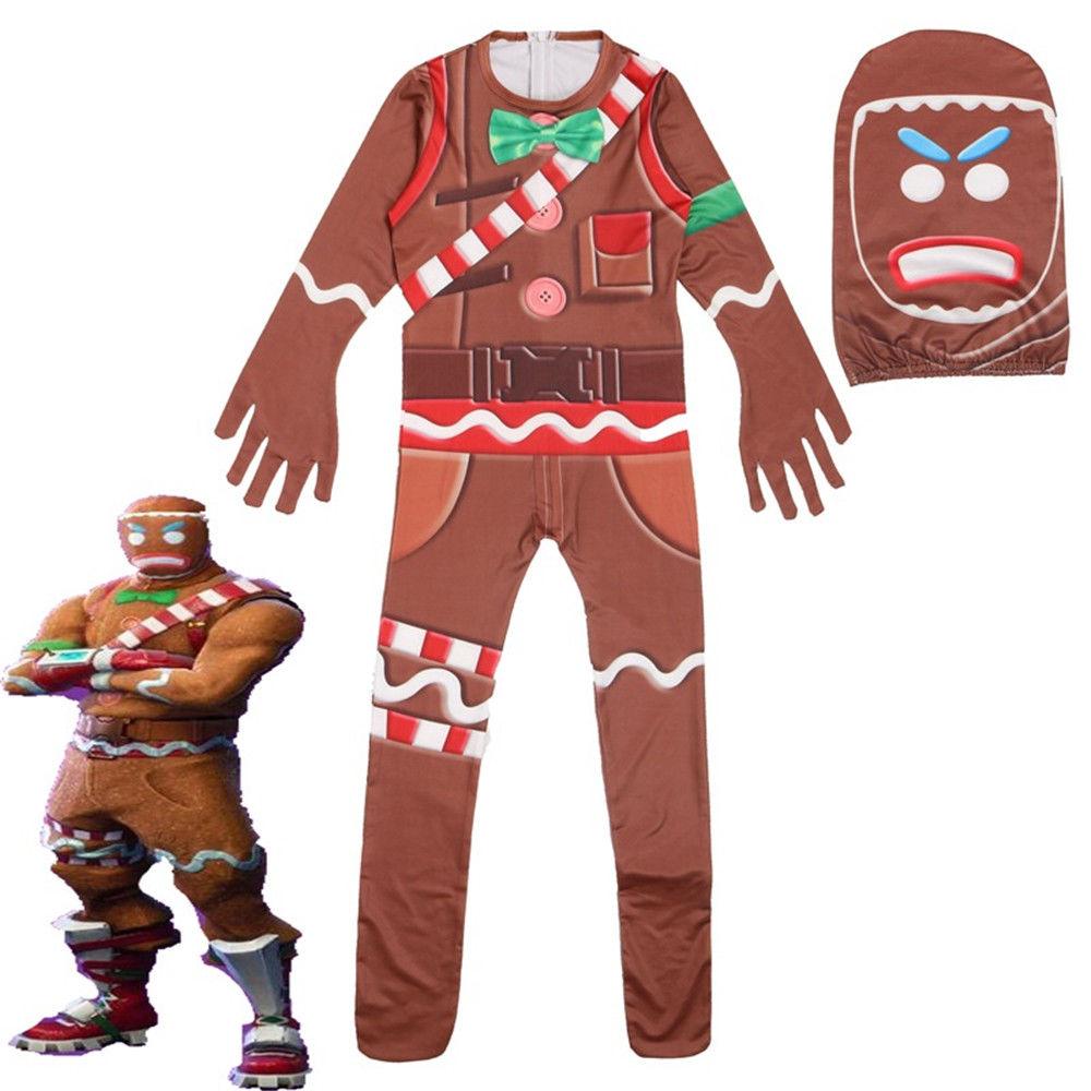 Halloween Fortnite Gingerbread Man Skin Siamese Cosplay Kids