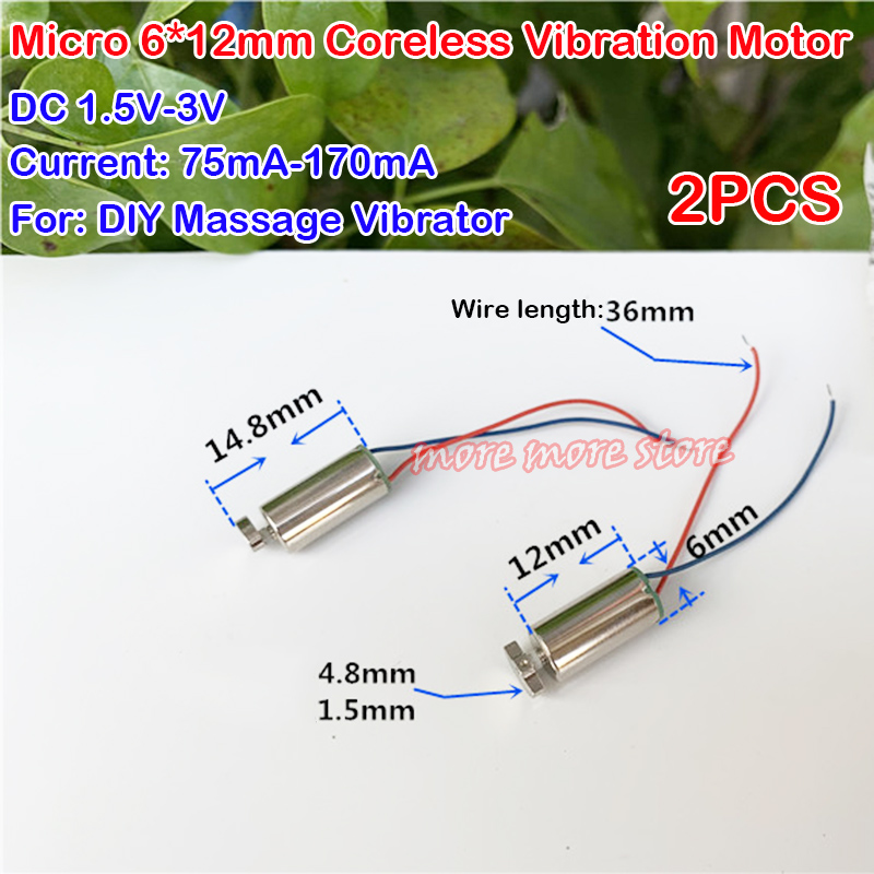 6mm*12mm DC 1.5V-3V Micro Coreless Vibration Vibrating Motor DIY Toy Massager