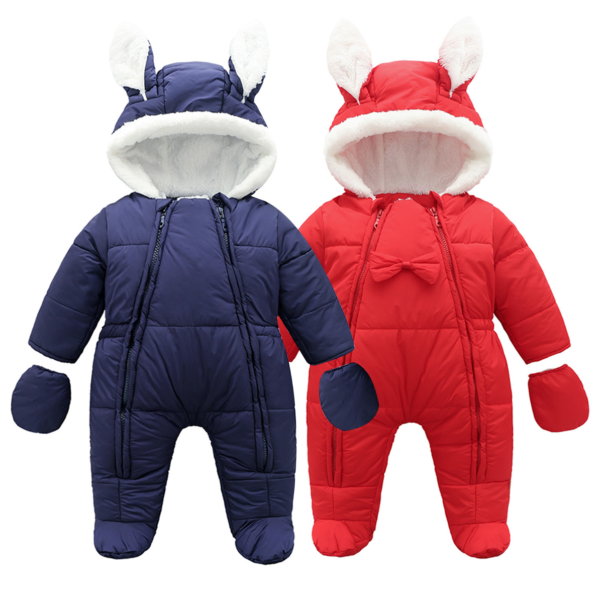 fdcf73c6d9e1 Infant Baby Girls Boys Romper Winter Hooded Outerwear Snowsuit ...