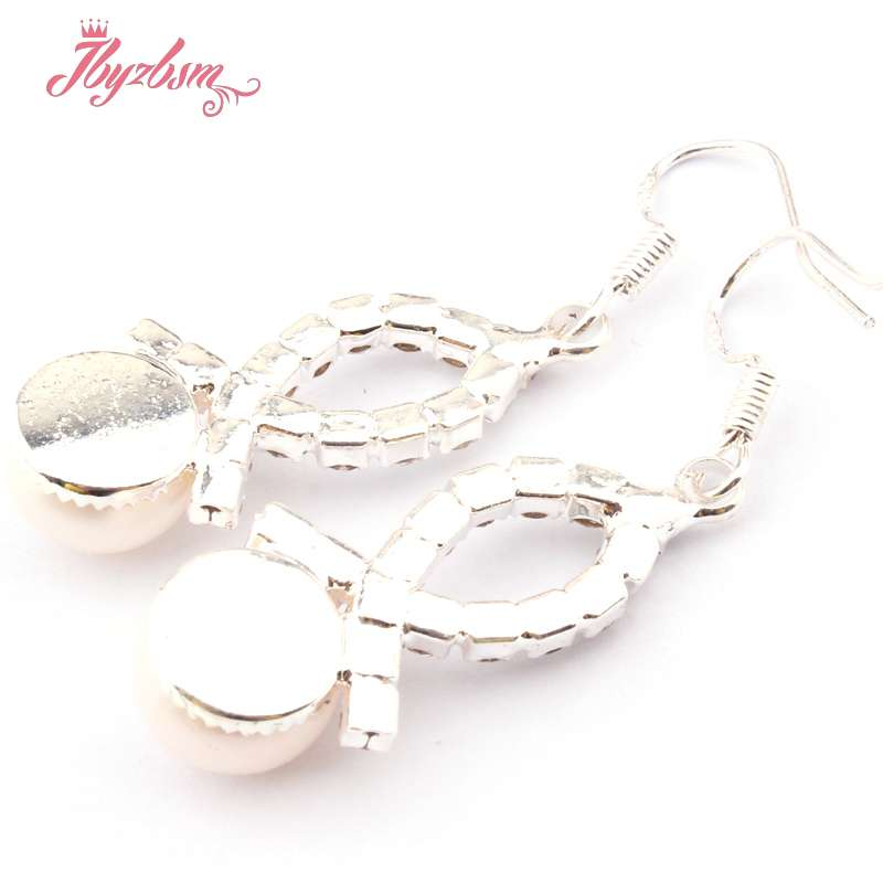 10 mm round Freshwater Pearl Silver Dangle Crochet Cristal Boucles d/'oreilles Fashion Jewelry