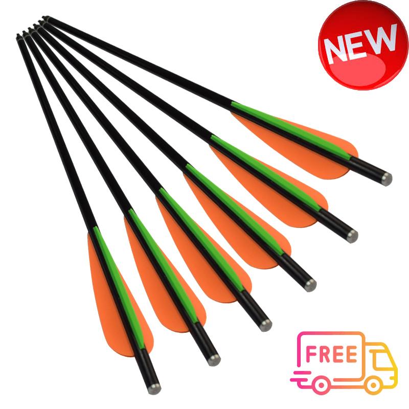 """6* 8mm Archery Fiberglass Target Practice Arrows Replaceable Screw-In Tips 31/"""""""