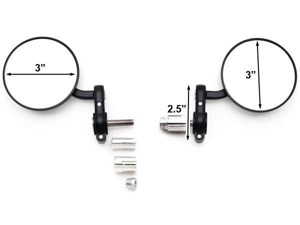 Black Black Bar End Mirrors for KTM 950 990 690 SMT SM Supermoto