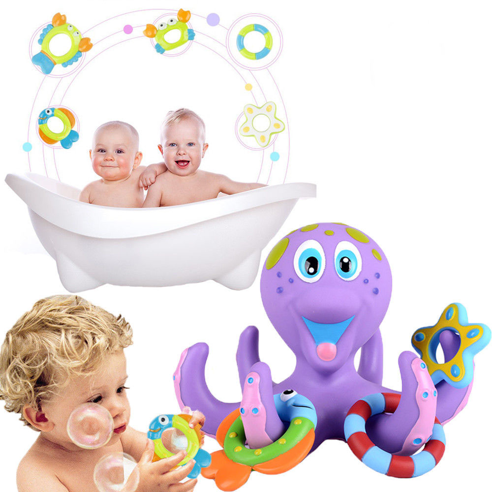 Floating Bath Toys Baby Octopus Kids Infant Toddlers 5 Rings Learn Play Fun Cute