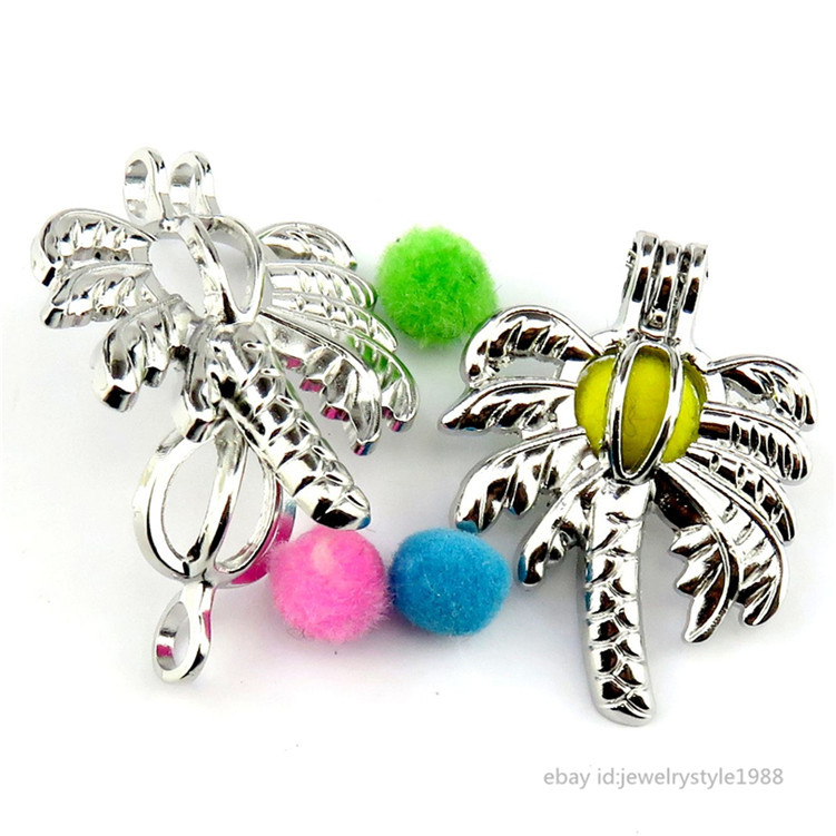 5X Pearl Beads Cage Silver Coconut Tree Locket Pendant Oil Diffuser 36*28MM Gift