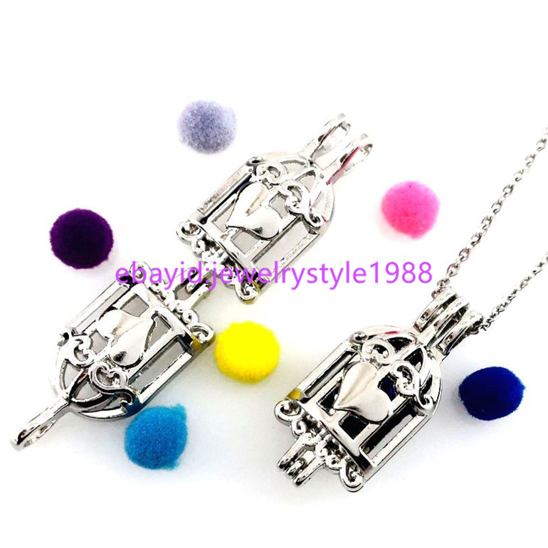 K670 Pearl Cage Birdcage Stone Cage Aromatherapy Locket Stainless Steel Chain