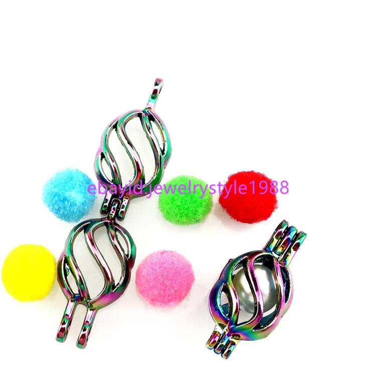 5X-C133 Rainbow color Pineapple Beads Pearl Cage Aromatherapy Locket Pendant