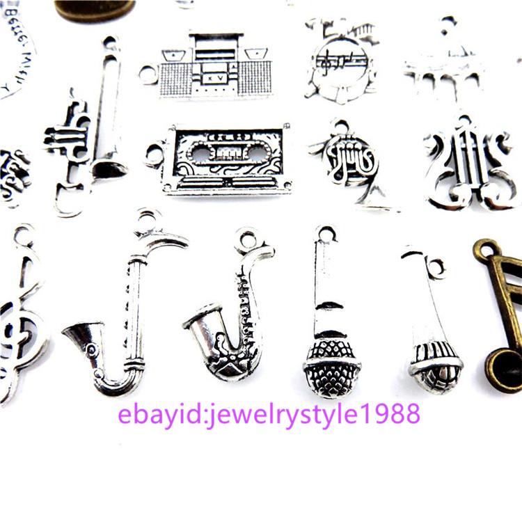 20PCS MIX Silver Music Note Saxophone Radio Harp Flute Drum Trumpet Band Pendant