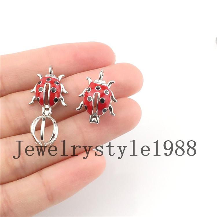 5X-K1217 émail Animal Beatles perles cage Parfum Diffuseur Médaillon Charme Pendentif