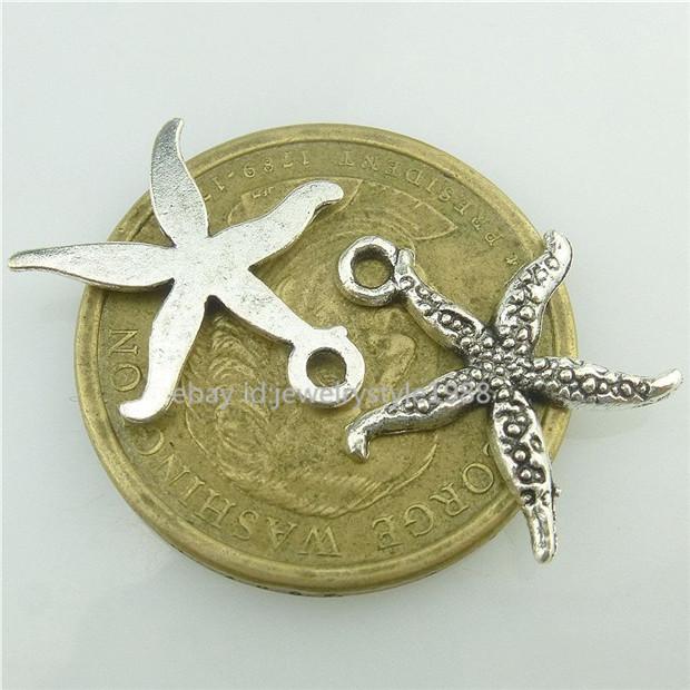 14960*2PCS Silver Vintage Large Five Star Starfish Pendant Charm Alloy Antique
