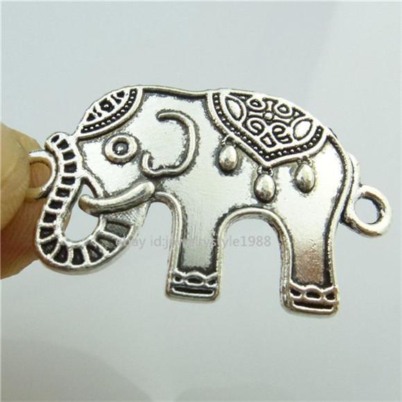 14808*15PCS Silver Vintage Animal Elephant Pendant Connecter Chare Alloy Antique