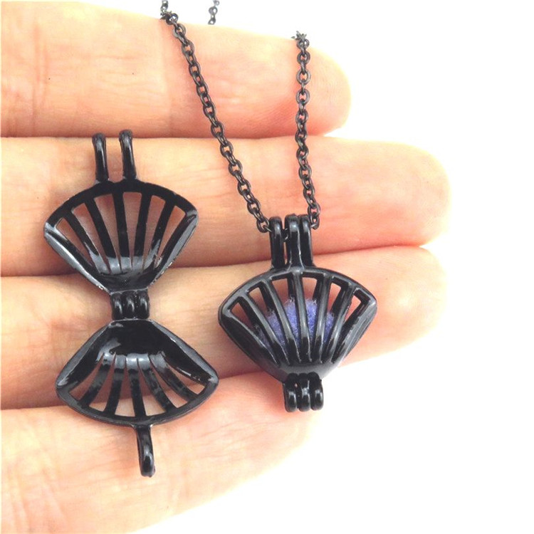 """H446 Black Beach Sea Shell Conch Bead Pearl Cage Steel Chain 18/"""" Necklace"""
