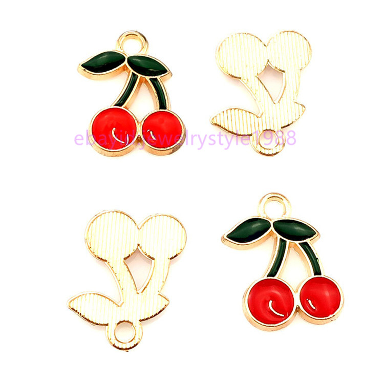 22218 20pcs Gold Enamel Fruit Strawberry Pendant Lovely DIY Jewelry
