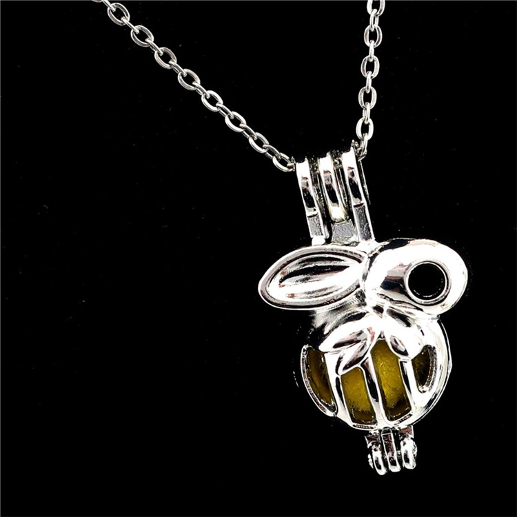 COLORFUL Ball Leaf Beads Pearl Cage Aroma Locket Necklace 18 inch -C542