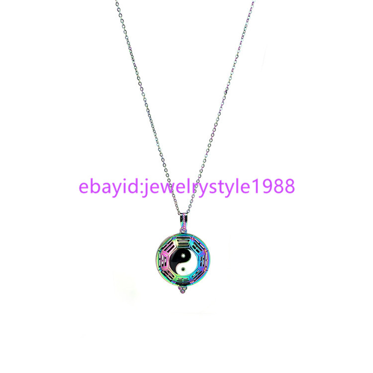 Details about C1109 Rainbow Tai Chi Charm Bead cage Perfume Diffuser  Necklace 20