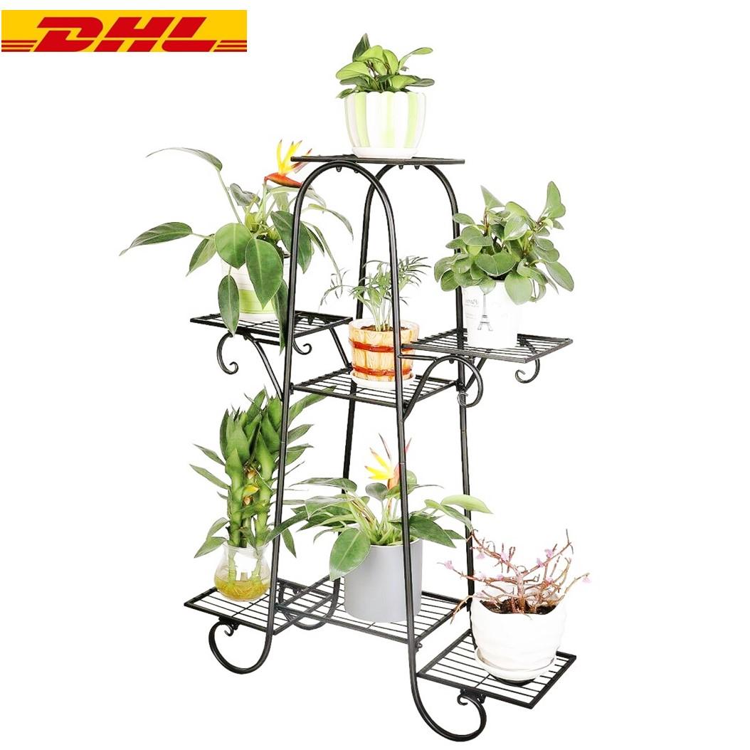 Blumentreppe 3-stufig Plant Stand Pflanzentreppe Blumenständer Bambus Metall