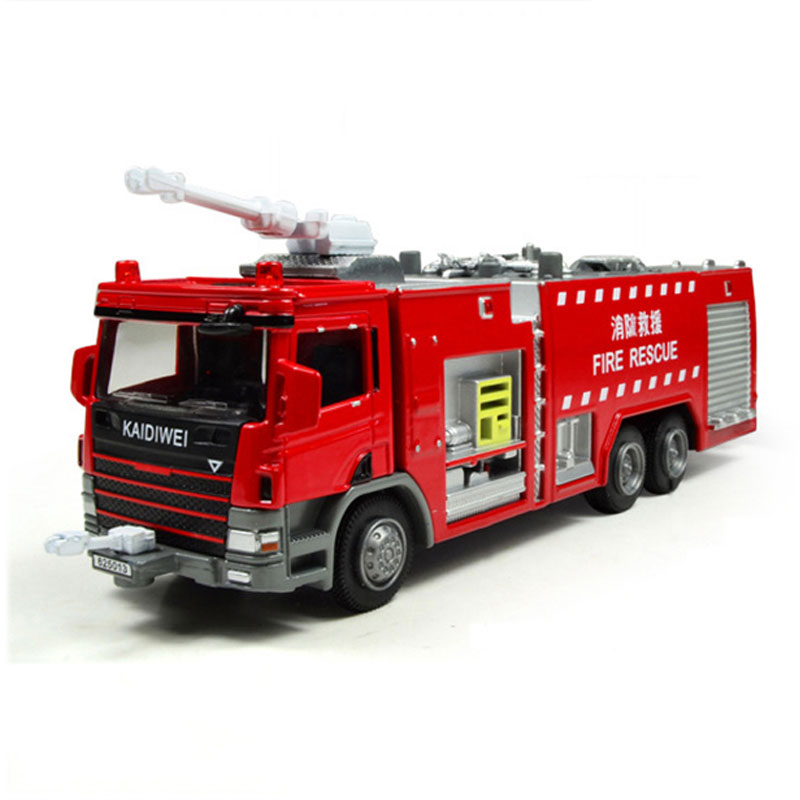 1:50 Fire Engine Water Tanker Truck Model Metal Diecast Toy ...