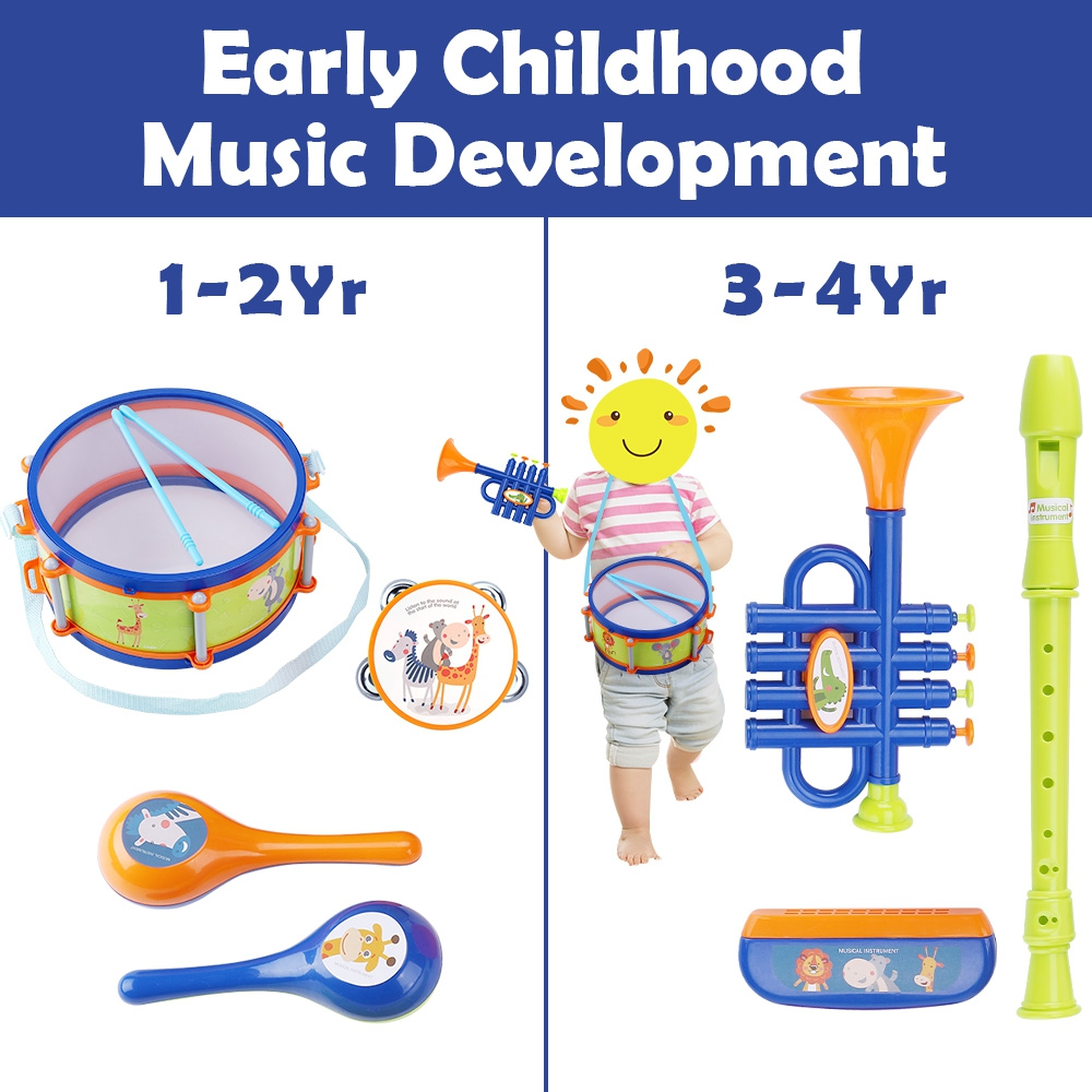 Drum Toy Kit 6x Kids Baby Boy Girl Musical Instruments Band Children Gifts A2