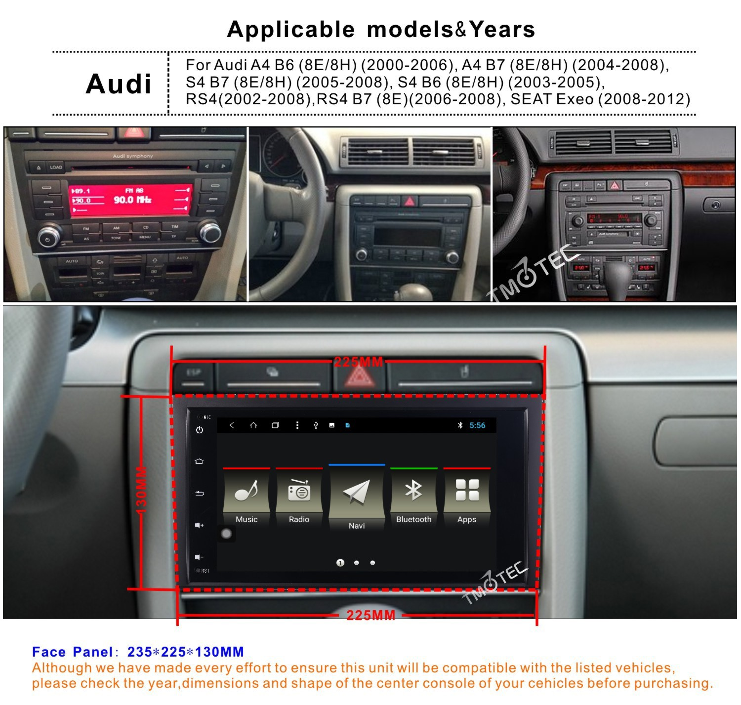 "For Audi A4 B6 B7 RNS-E 8"" Android 8.1 Car Stereo DAB GPS"