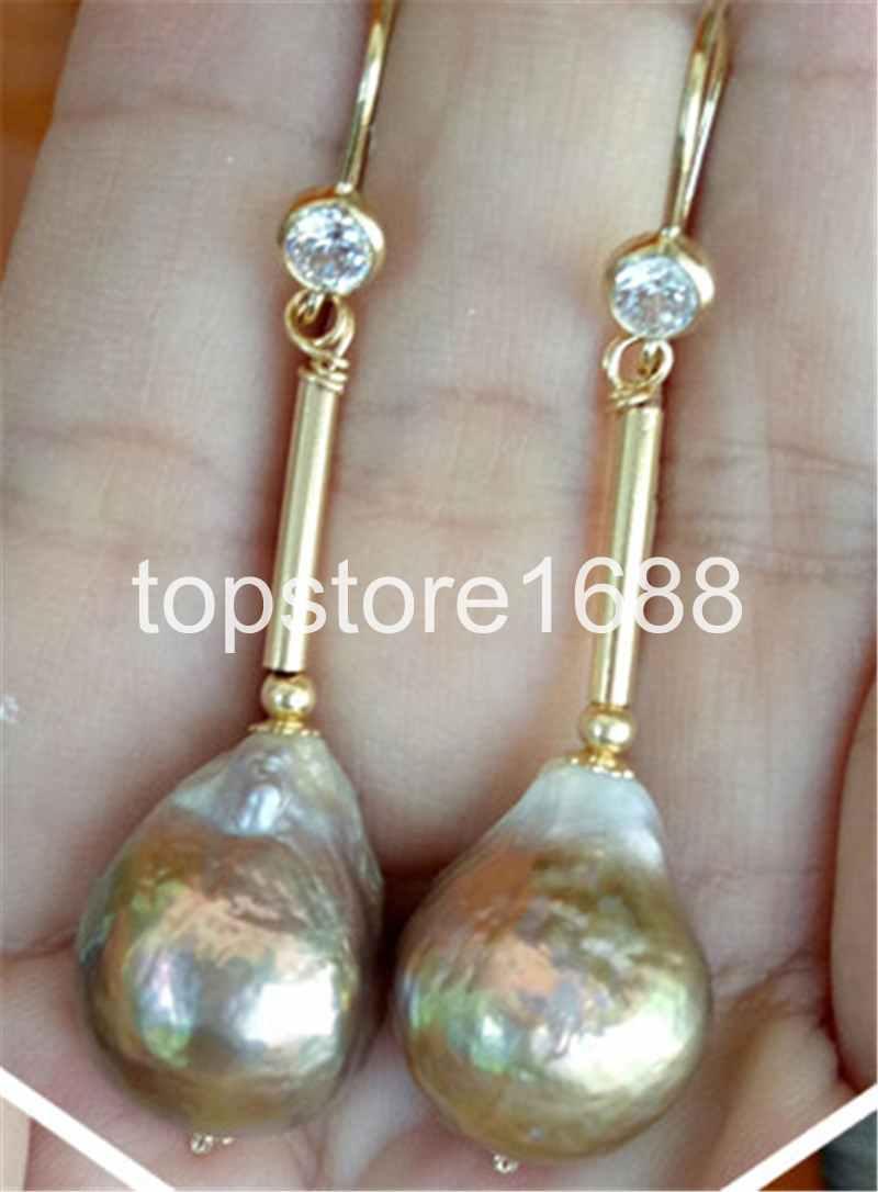 12-14MM gold purple reborn keshi freshwater pearl earring 14K GOLD