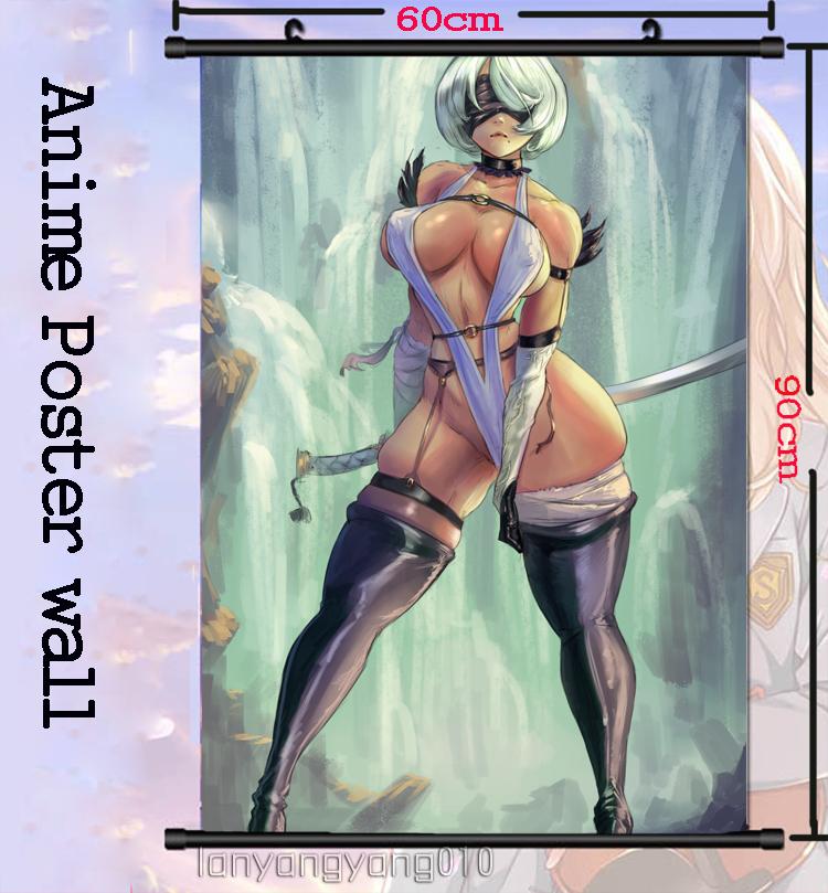 Hot Anime Nier Automata 2B NO2 Wall Scroll Poster Art Home Decor Gift 60*90CM#65