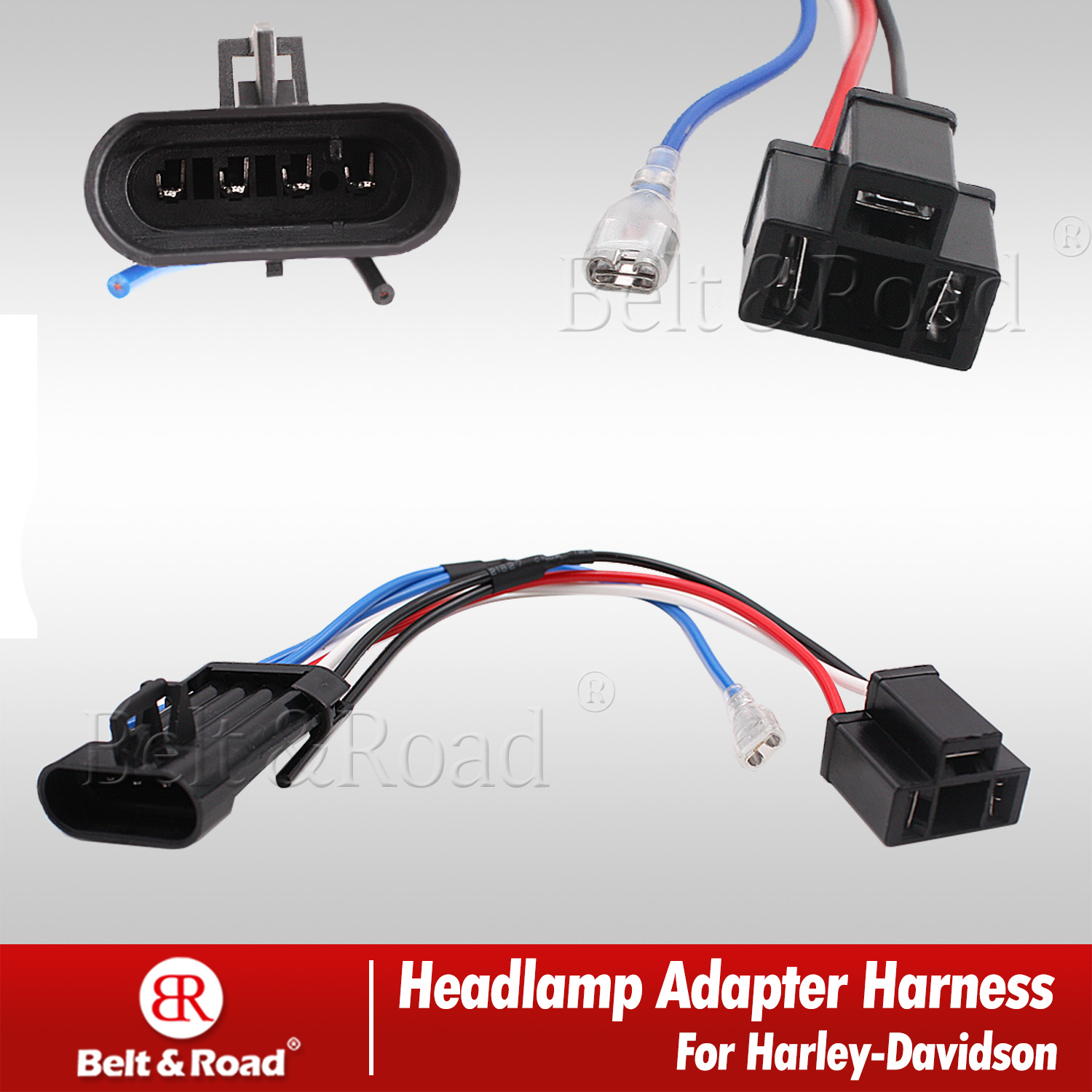 Details about Harley LED Headlight Harness Adapter Wire Connector Socket on
