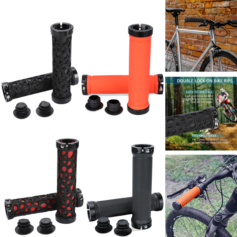 MTB Mountain Bike Grips Bicycle Cycling Double Lock on Handle Bar Rubber Grips