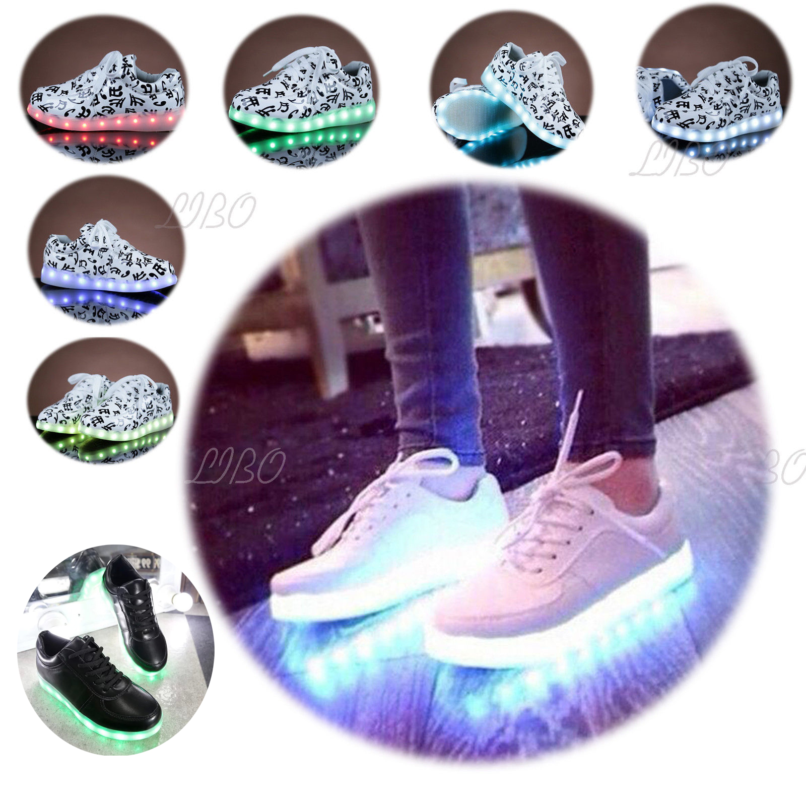 Details About Womens Girls Boys Led Light Up Usb Charge Trainers Street Dance Sneakers Shoes