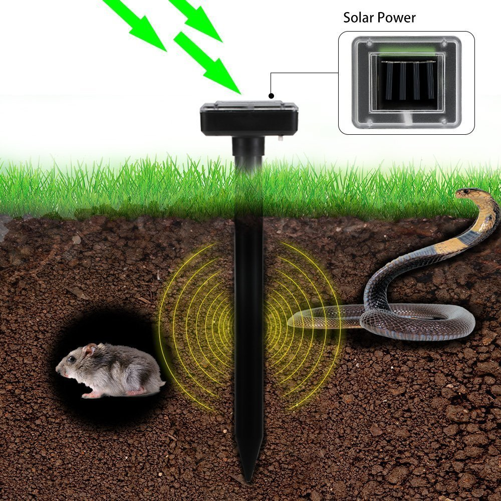 Solar Powered Ultrasonic Repellent Garden Sonic Mouse Mole