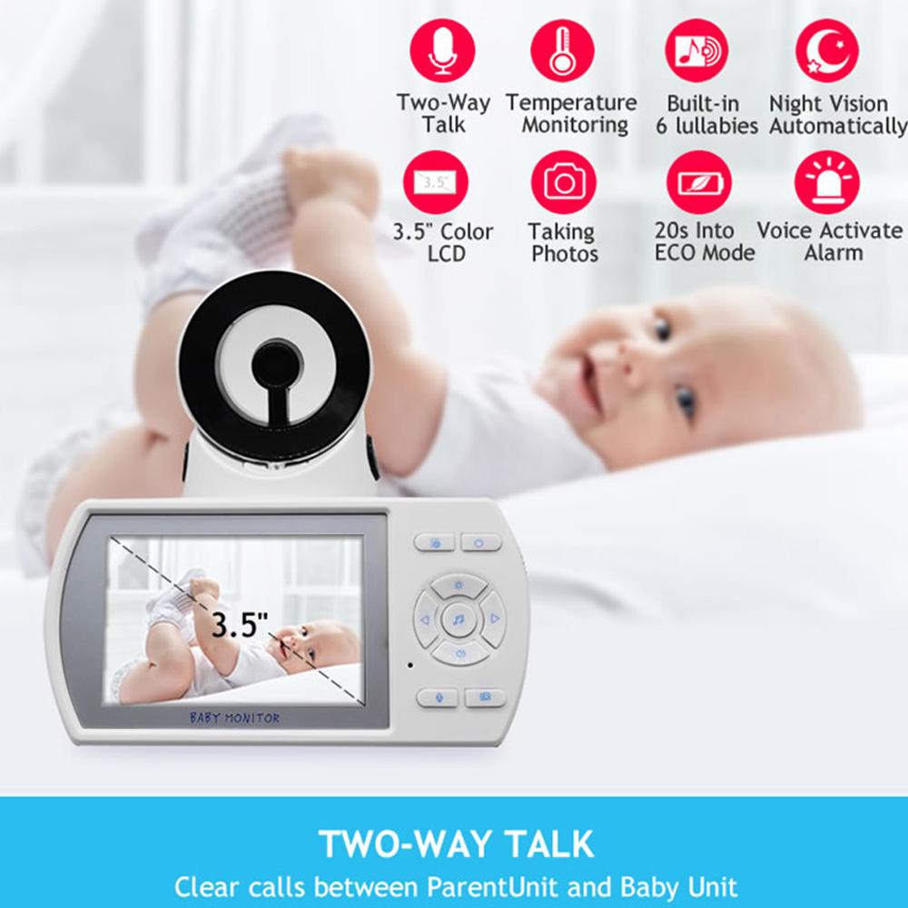 "2 Way Talk 3.5/"" inch Digital Wireless Baby Monitor Night Vision Video Audio Cam"