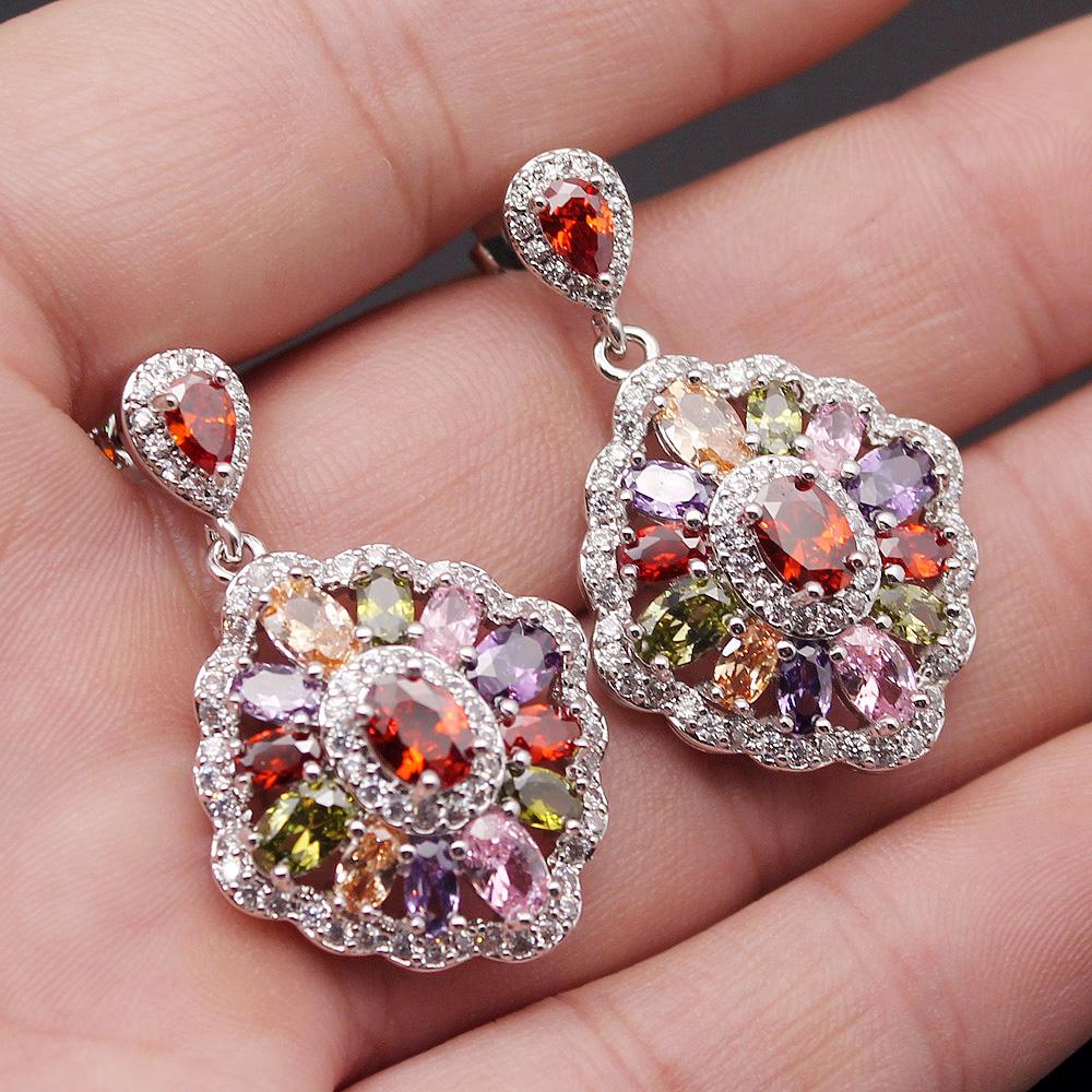 Choose Your Color Topaz Wedding Sets 925 Sterling Silver Necklace ...