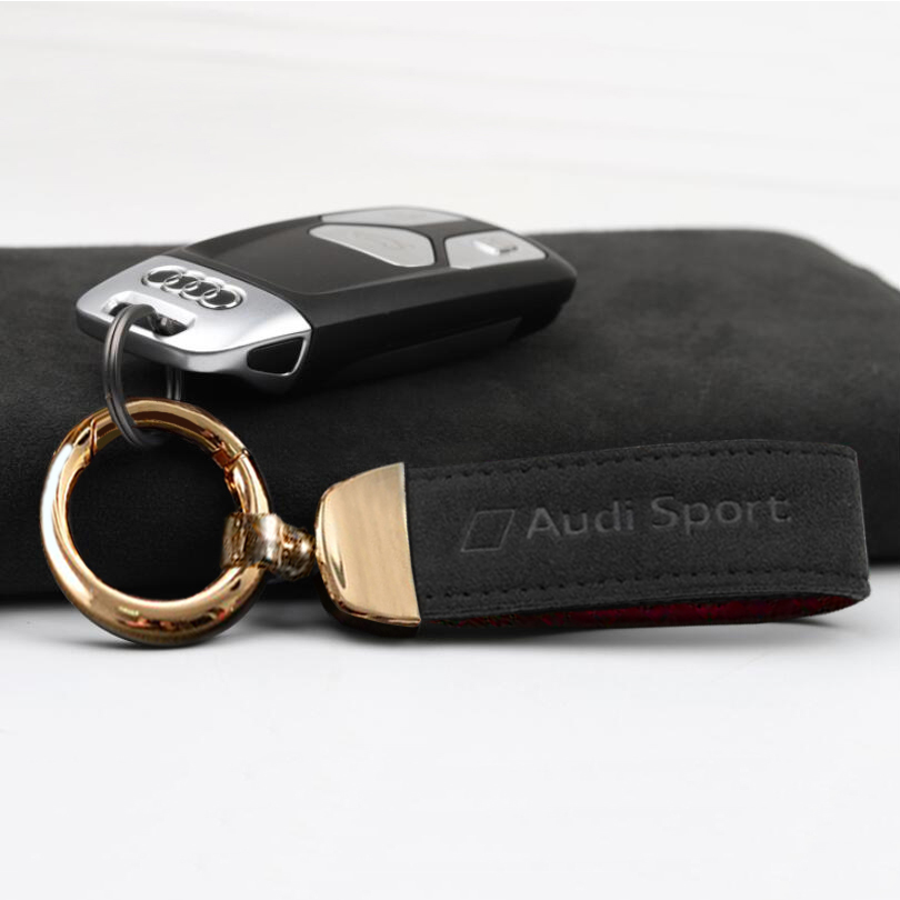 with Logo Autophone Leather Weave Car Logo Keychain -Black for Men and Women