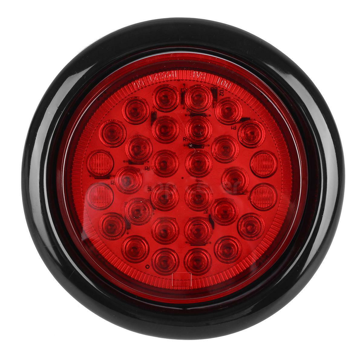 2x Red 4 U0026quot  Inch 30 Led Round Stop Turn Tail Backup Truck
