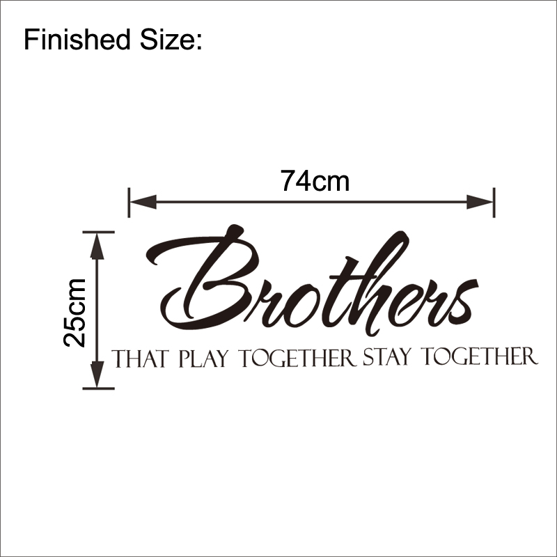 Brothers Stay Together Quote Wall Sticker Boys Kids Room ...