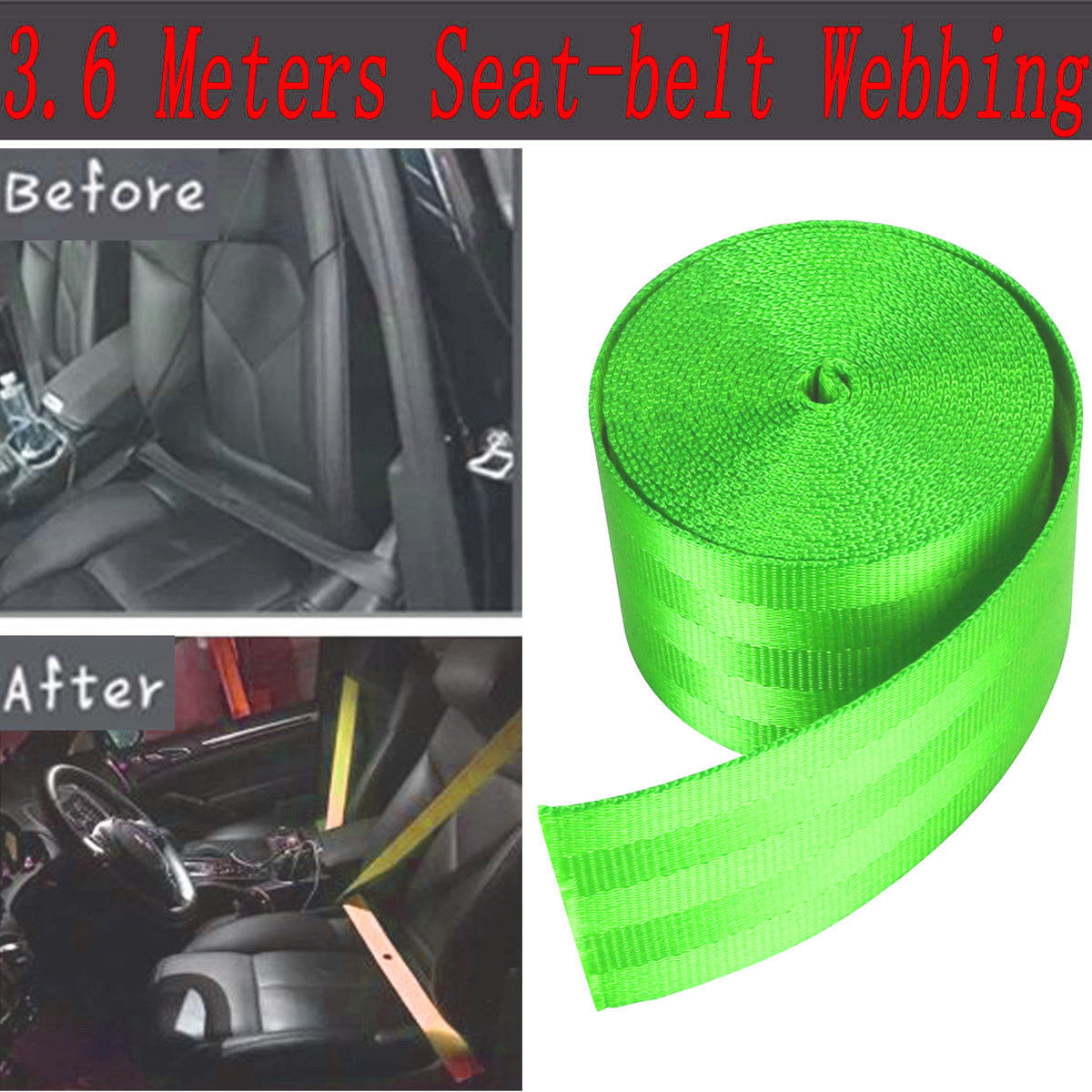 Seat Belt Webbing Polyester Seat Lap Retractable Nylon Safety Strap Green 3.6M Seat Belts & Parts Car & Truck Parts