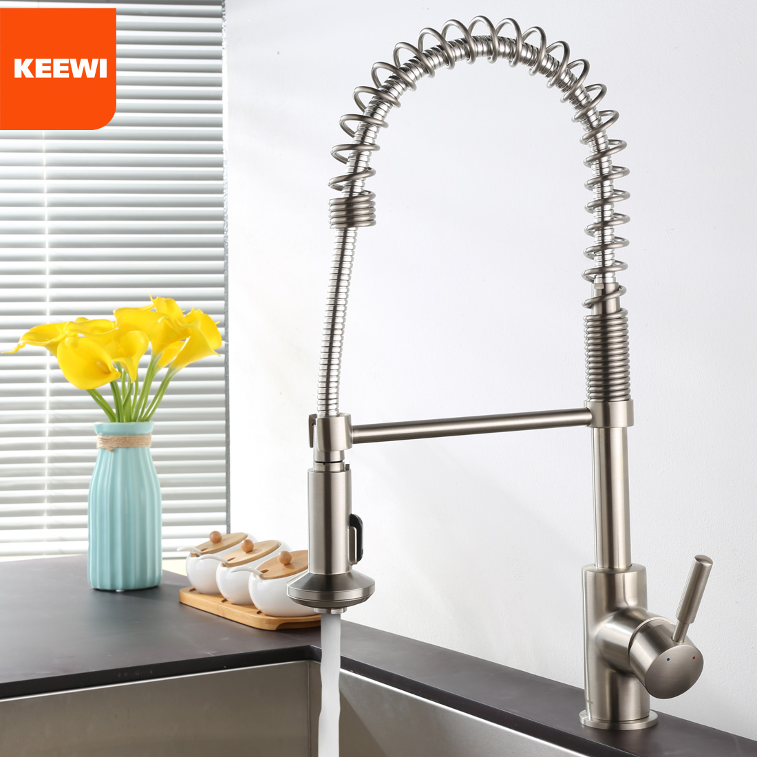 Keewi Kitchen Faucet Brushed Nickel, Commercial Kitchen Faucet Pull ...