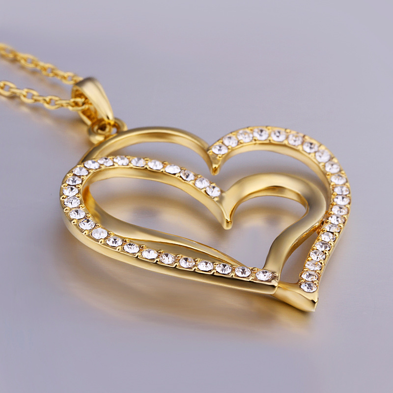 18k Gold Plated Necklace Pendant Heart Love Crystal Chain Wedding Bridal Gift