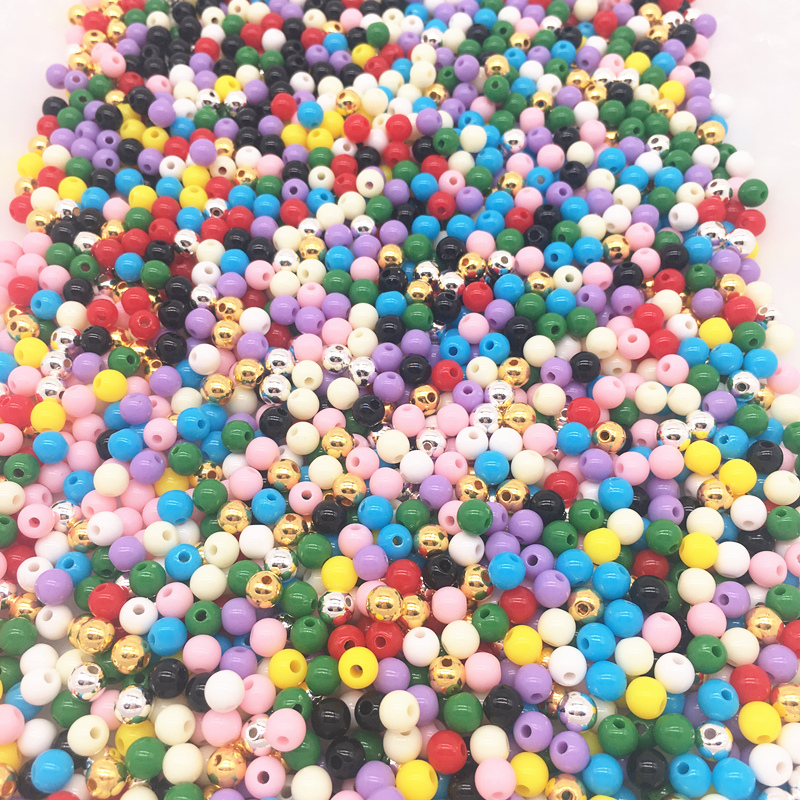 50pcs 8MM Clay Beads Colorful Patterned Decorative Spacer Beads for Craft Making