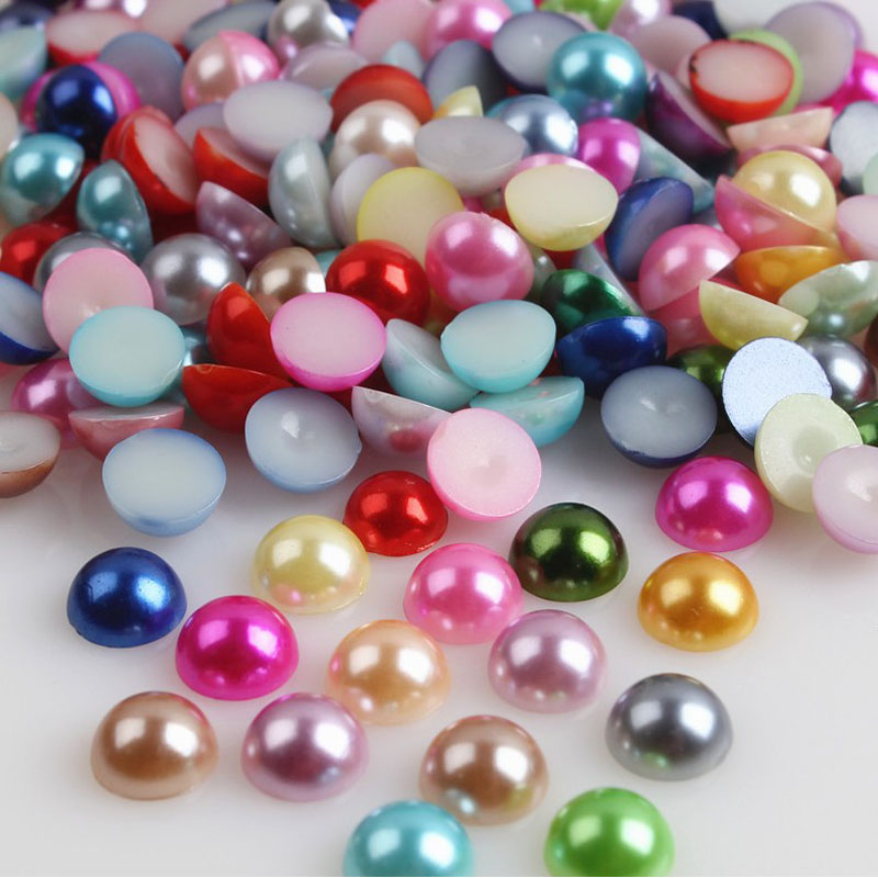 New 8mm 50pcs Half Round Two color Bead Flat Back Pearl Scrapbooking Craft #07