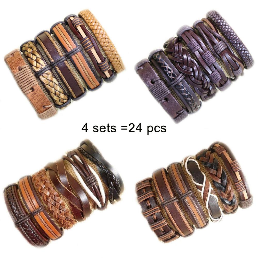 PotaMalat 6pcs Mens Leather Bracelet Wristband Surfer Tribal Brown Gift-D49